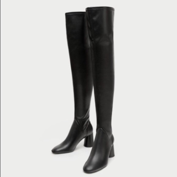 a82461d9dbe Zara Black Faux Leather Over the Knee Boots